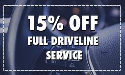 15% Off Full Driveline Service