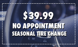No Appointment Seasonal Tire Changeover for $39.99