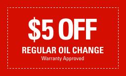 $5 Off Regular Oil Change *Warranty Approved*